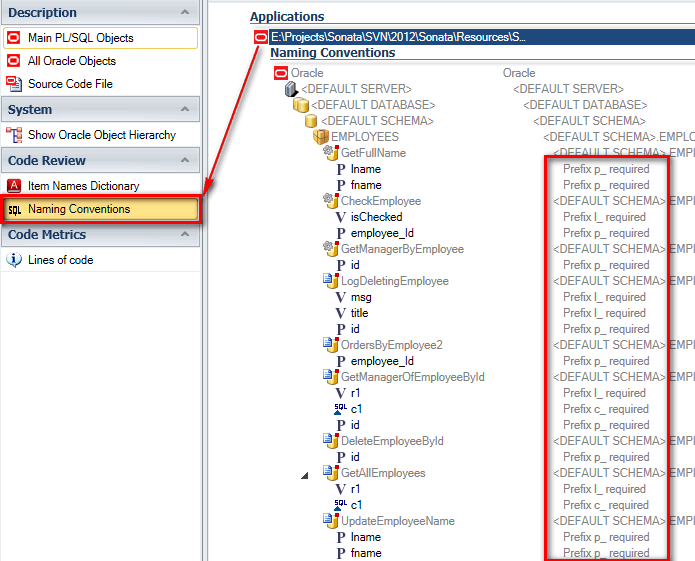 select PL/SQL code to check naming conventions