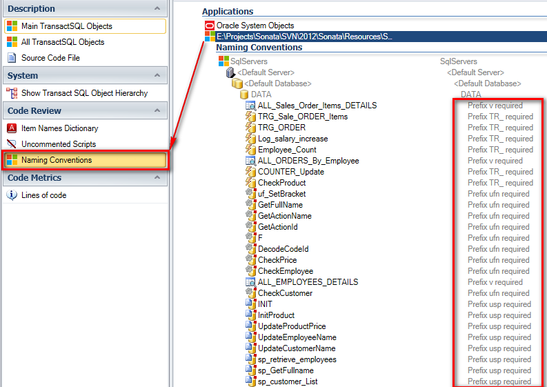 Select T-SQL code to check naming conventions