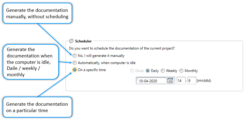 Schedule code documentation daily, weekly, monthly or on a specific time