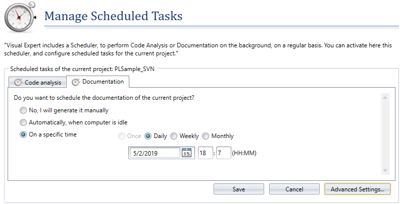 Manage the schedule for code documentation using Visual Expert
