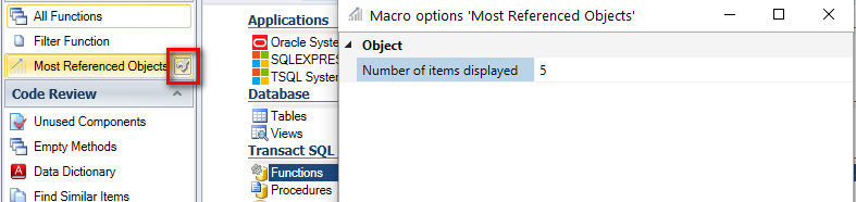 configure the number of objects to be displayed