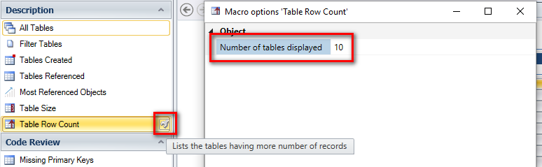 Table Row Count result displaying number of rows