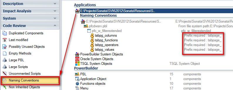 select powerbuilder code to check naming conventions
