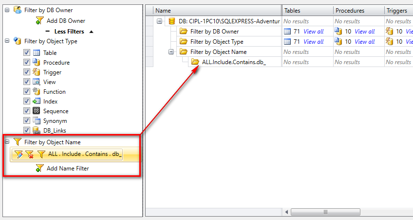 Filter Oracle + SQL Server objects by name