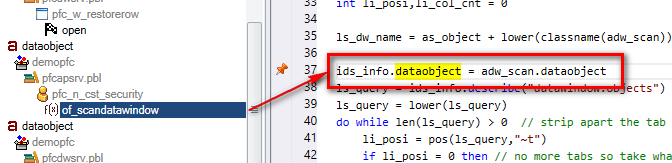 Return to the highlighted DataWindow by clicking on its name in the Visual Expert source code view