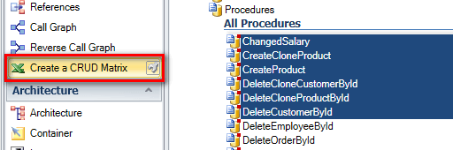 Select functions or procedures for CRUD Matrix