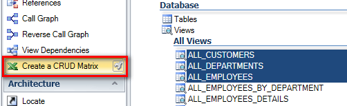 Select views to map tables in CRUD Matrix