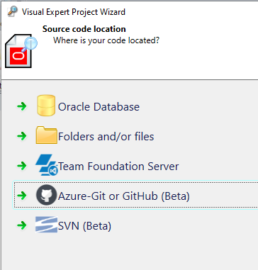 Select Azure-Git or GitHub for source code location