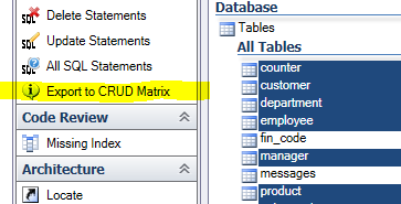 export crud matrix