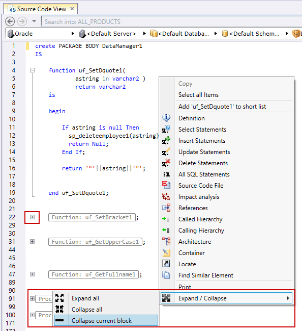 expand/collapse items in the source code view