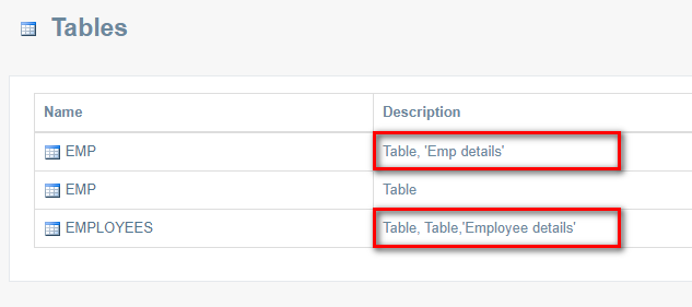 Add Comments to Oracle Tables and Columns in Code Documentation
