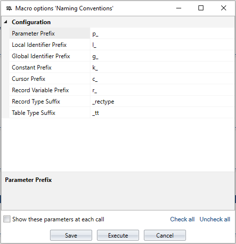 Configure naming conventions for PL/SQL code