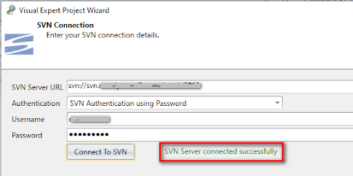 Connect to SVN and load team projects