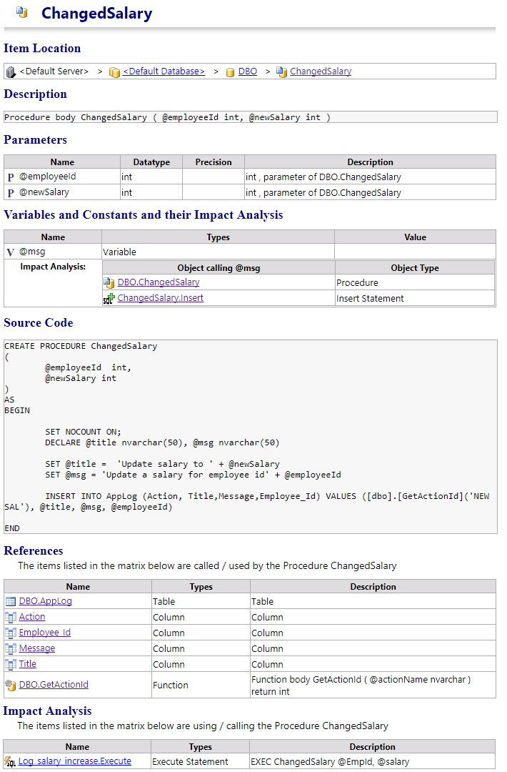 Visual Expert generates a Documentation of SQL Server Transact SQL Stored Procedures