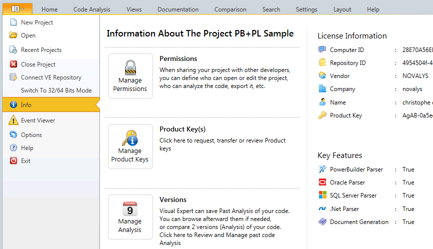 Manage Visual Expert project and licenses from the new file menu