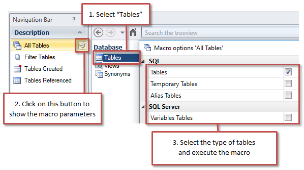 Filter SQL Server and Oracle Tables by Type