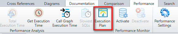 View the execution plan of an SQL Server query from the Performance tab of Visual Expert