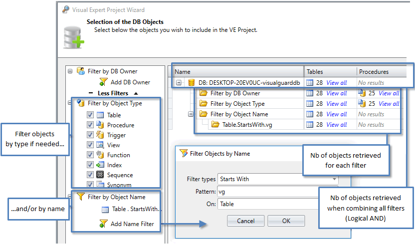 Filter the DB objects you wish to analyze with Visual Expert