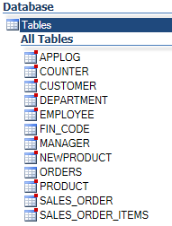 List of Oracle or SQL Server tables without duplicated tables