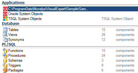 List of Oracle objects found by Visual Expert