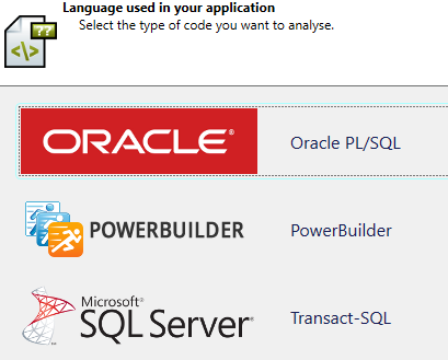 Select Oracle code to analyze with Visual Expert