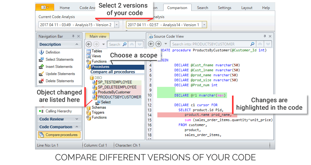 Compare 2 versions of your PowerBuilder, PL/SQL and SQL Server Code