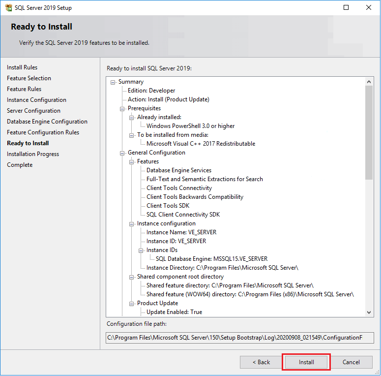 Install SQL Server 2019 Developer Edition