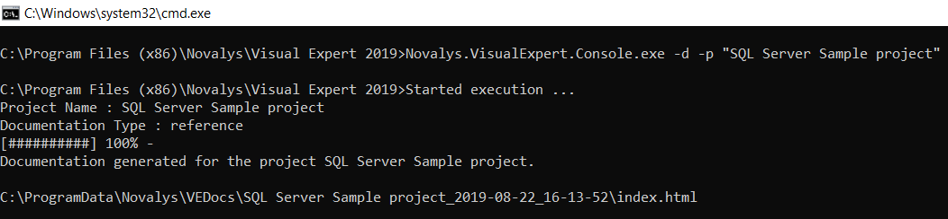 run visual expert from command line - generate source code documentation