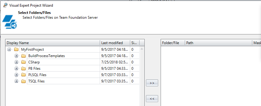 Select code within Team Foundation Server source control