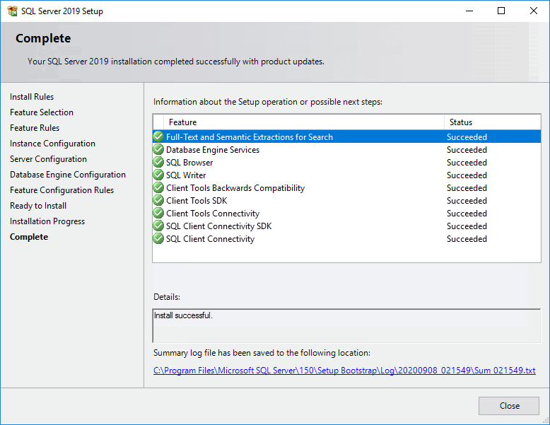 Installation of SQL Server 2019 Completed