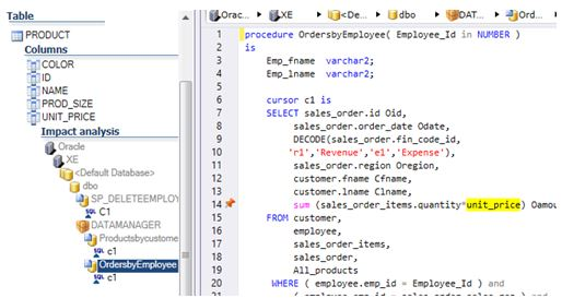 Find References in Oracle Pl/SQL Code with Visual Expert