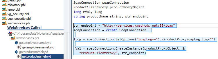 Find code to OLE objects, soap connexions, etc.