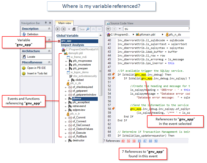 Visual Expert for PowerBuilder - Referenced variables