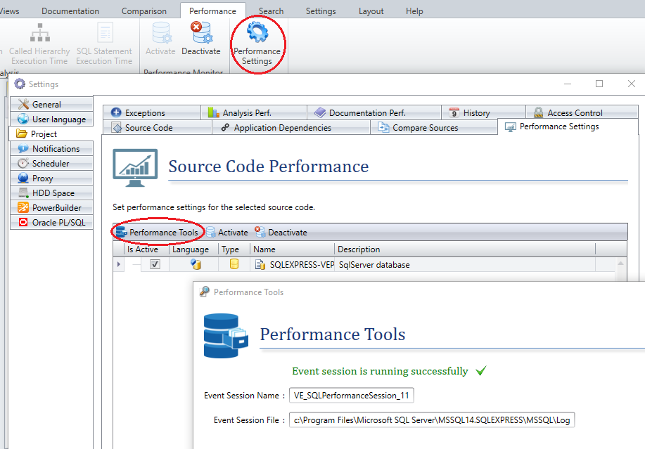Define code performance analysis settings