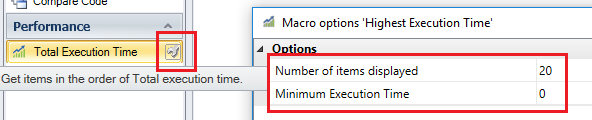 DB Code Total Execution Time: Customize the results with Parameters