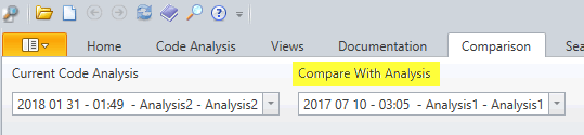 Select two code analysis to compare